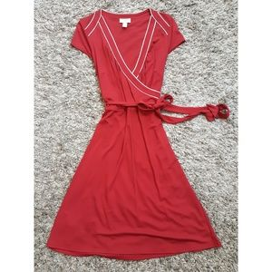 Ann Taylor Loft Red Midi Dress with Tie Waist
